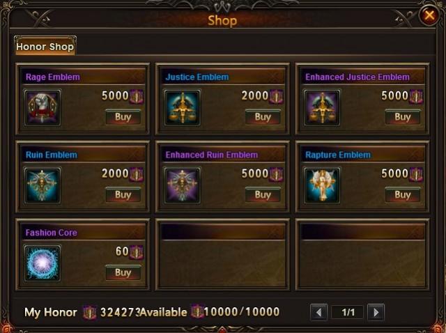 League of Angels Cross-server War Shop