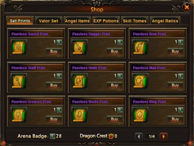 League of Angels Arena Shop