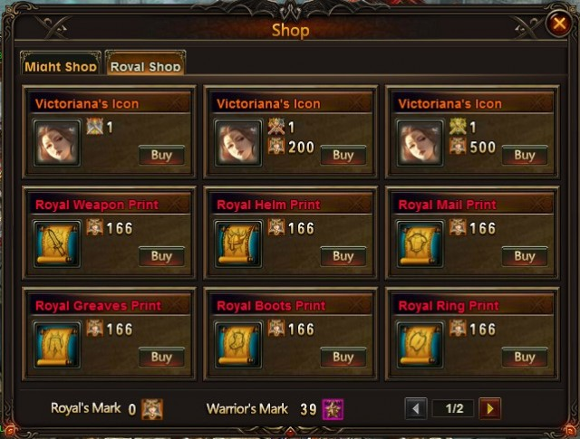 League of Angels Tournament Shop