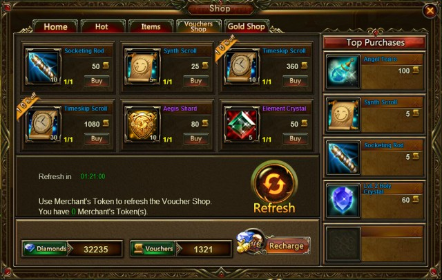 League of Angels Voucher Shop