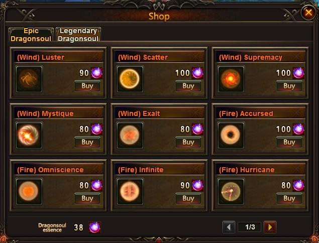 League of Angels Dragonsoul Shop
