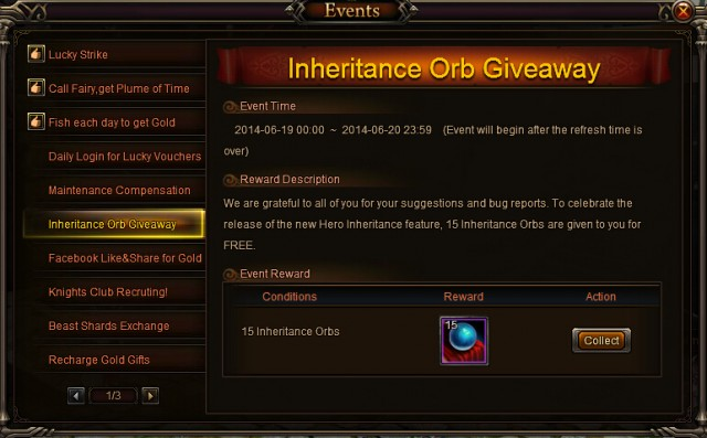 Knight's Fable Inheritance Orb Giveaway